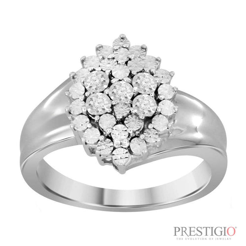 Sterling Silver .06cttw Diamond Fashion Ring - prestigiojewelers