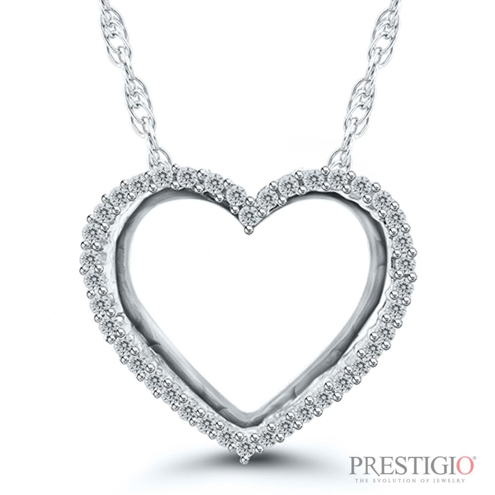 10K White Gold .12cttw Diamond Heart Pendant