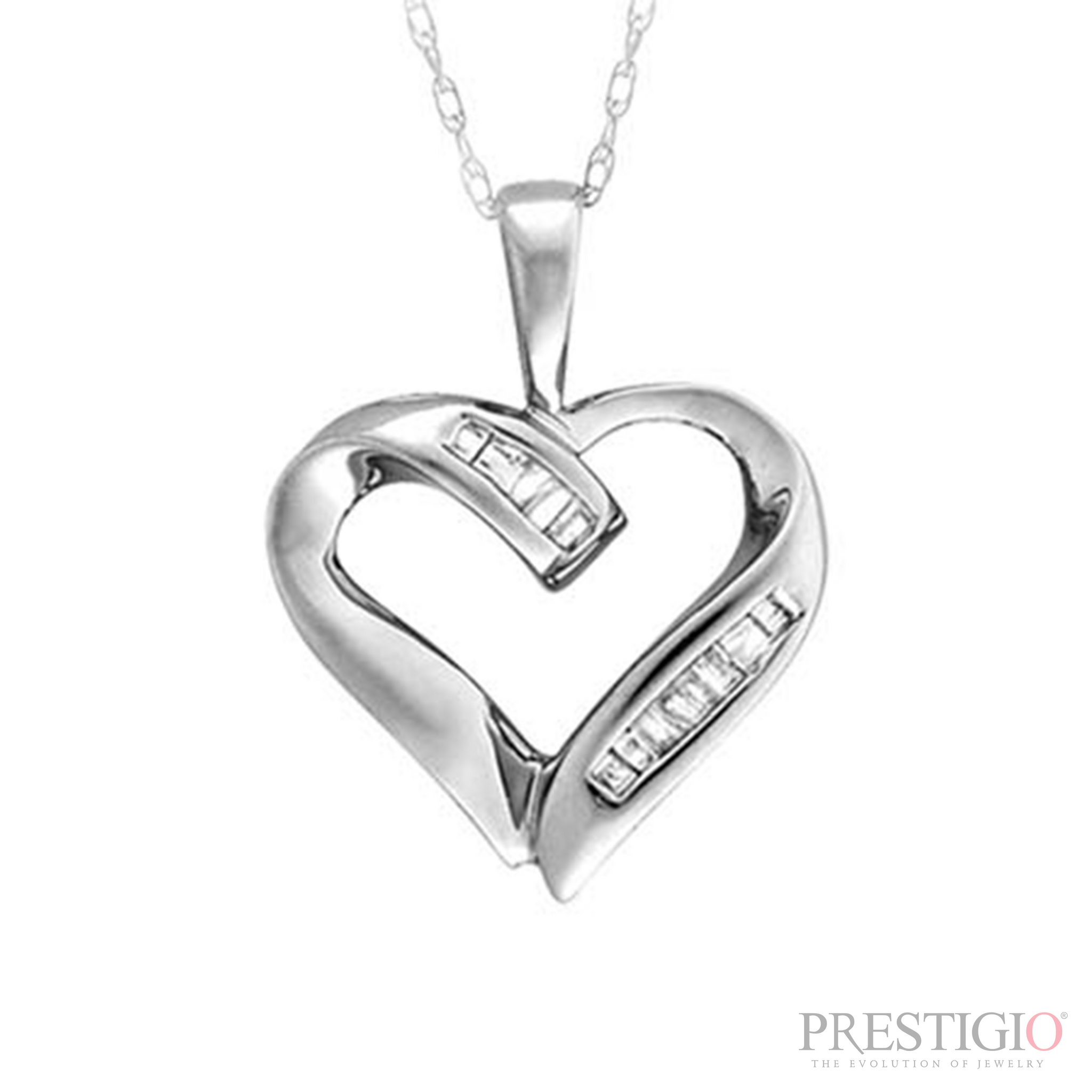 10k White Gold .05ctw Diamond Heart Pendant