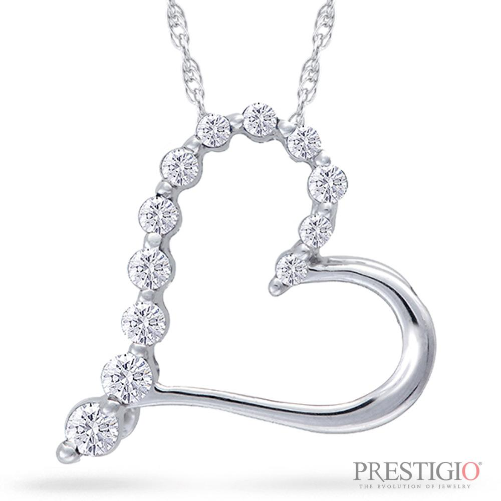 10K White Gold .10cttw Diamond Heart Pendant