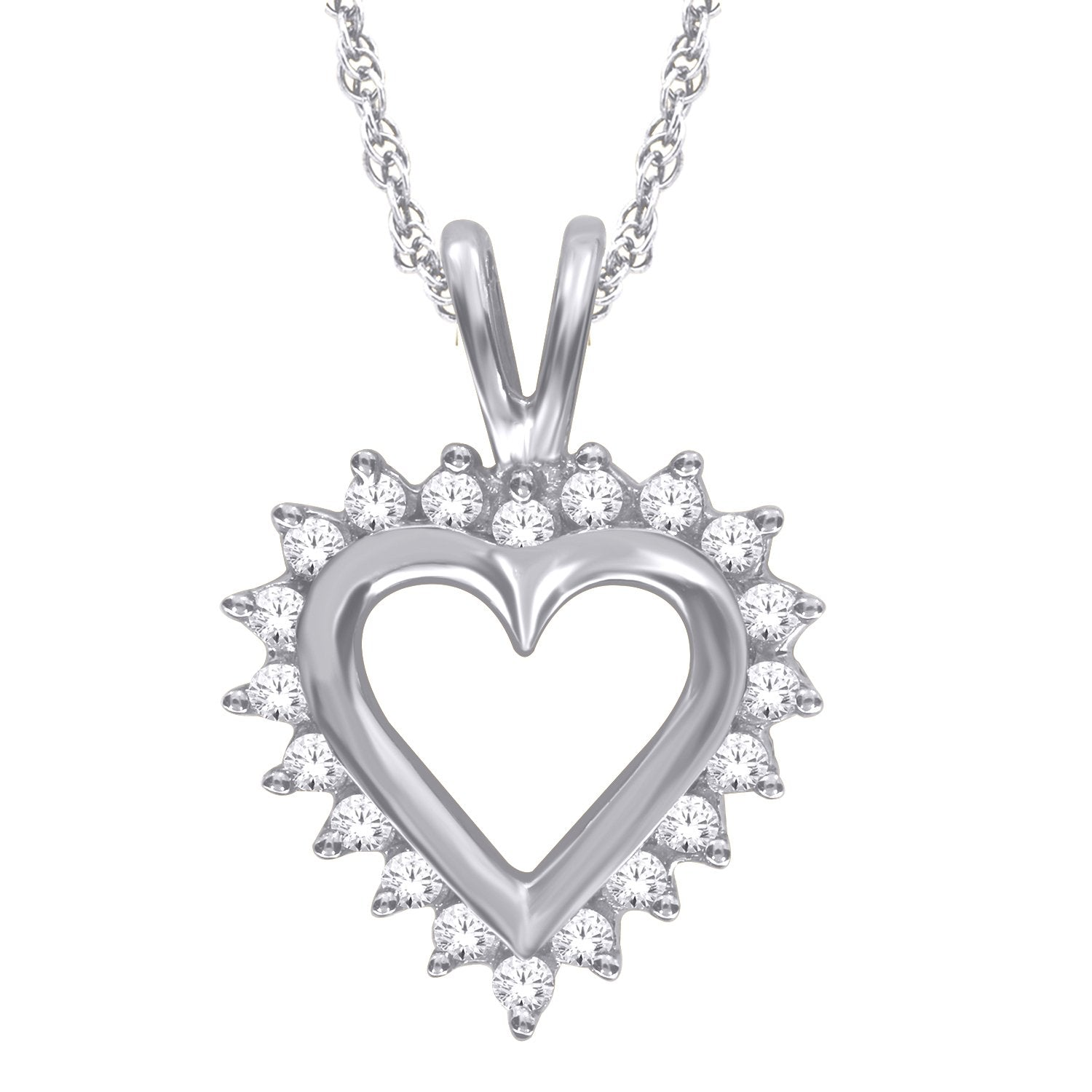 10k White Gold .15ctw Diamond Heart Pendant