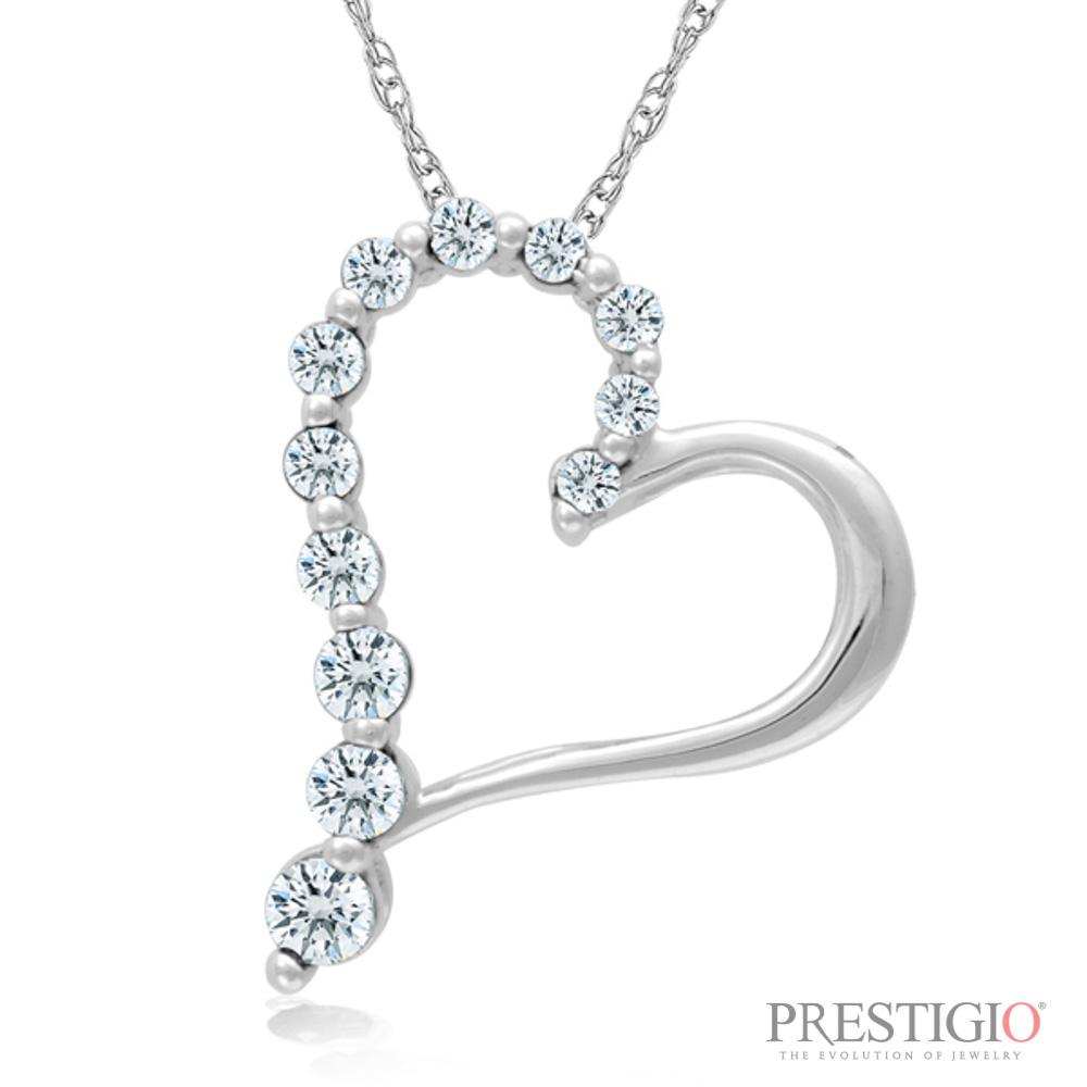 10K White Gold .50cttw Diamond Heart Pendant