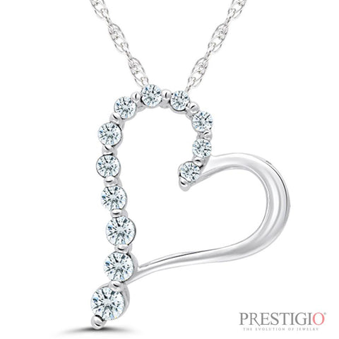 10K White Gold 1.00cttw Diamond Heart Pendant