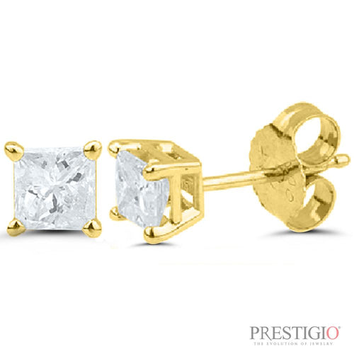 14k Yellow Gold 1.00cttw Princess Cut Diamond Earrings - prestigiojewelers