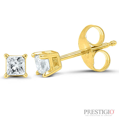 14k Yellow Gold .15cttw Princess Cut Diamond Earrings - prestigiojewelers