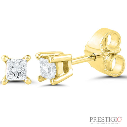 14k Yellow Gold .25cttw Princess Cut Diamond Earrings - prestigiojewelers