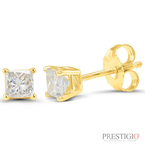14k Yellow Gold .38cttw Princess Cut Diamond Earrings - prestigiojewelers