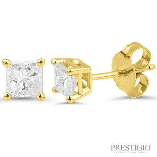14k Yellow Gold .75cttw Princess Cut Diamond Earrings - prestigiojewelers