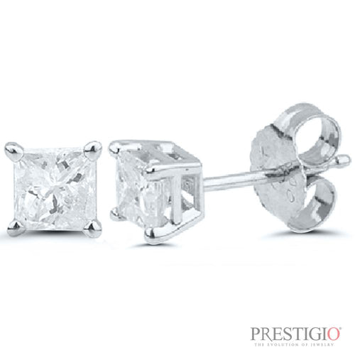 14k White Gold 1.00cttw Princess Cut Diamond Earrings - prestigiojewelers