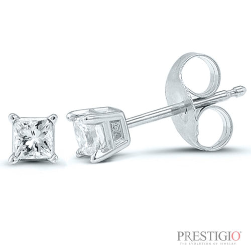 14k White Gold .15cttw Princess Cut Diamond Earrings - prestigiojewelers