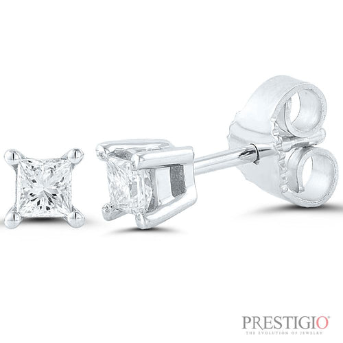 14k White Gold .25cttw Princess Cut Diamond Earrings - prestigiojewelers