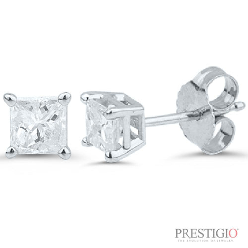 14k White Gold .75cttw Princess Cut Diamond Earrings - prestigiojewelers