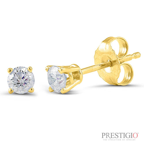 14k Yellow Gold .15cttw Round Diamond Earrings - prestigiojewelers