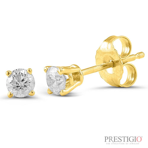 14k Yellow Gold .25cttw Round Diamond Earrings