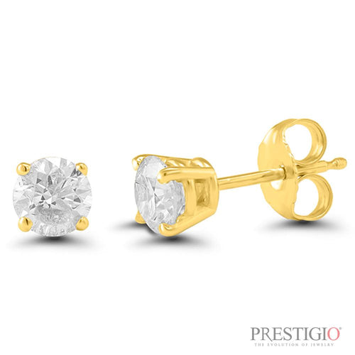 14k Yellow Gold .38cttw Round Diamond Earrings - prestigiojewelers