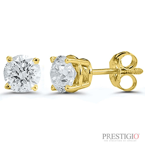 14k Yellow Gold .50cttw Round Diamond Earrings - prestigiojewelers