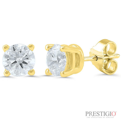 14k Yellow Gold .75cttw Round Diamond Earrings - prestigiojewelers