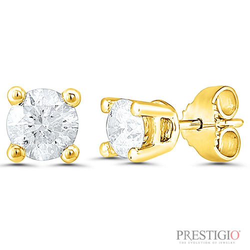 14k Yellow Gold 1.00cttw Round Diamond Earrings - prestigiojewelers