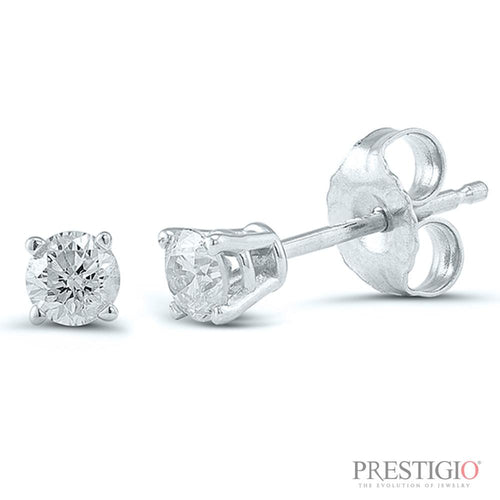 14k White Gold .15cttw Round Diamond Earrings - prestigiojewelers