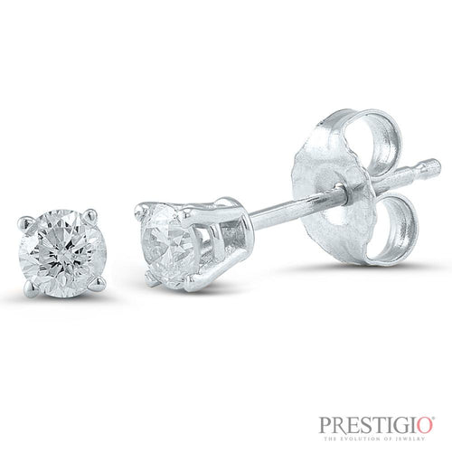 14k White Gold .25cttw Round Diamond Earrings - prestigiojewelers