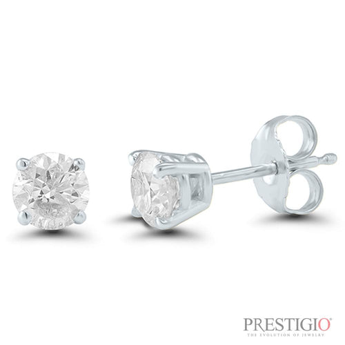 14k White Gold .38cttw Round Diamond Earrings - prestigiojewelers