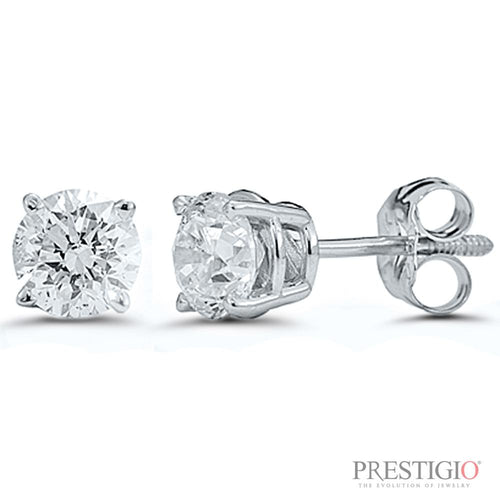 14k White Gold .50cttw Round Diamond Earrings - prestigiojewelers