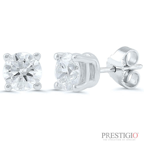 14k White Gold .75cttw Round Diamond Earrings - prestigiojewelers