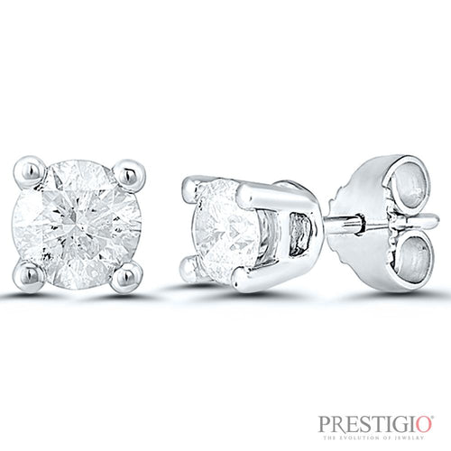 14k White Gold 1.00cttw Round Diamond Earrings - prestigiojewelers