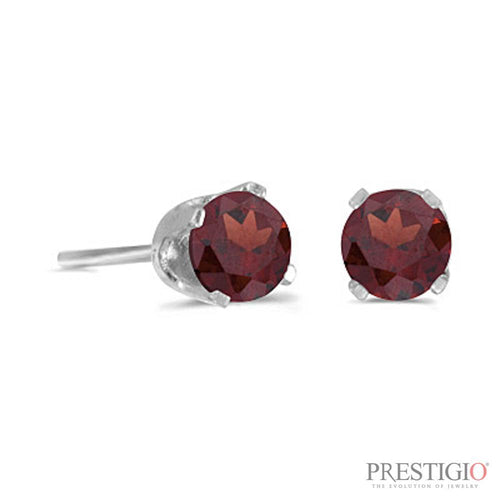 14k White Gold Round Garnet Stud Earrings - prestigiojewelers