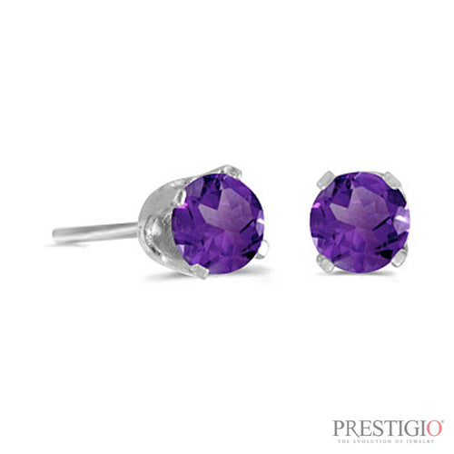 14k White Gold Round Amethyst Stud Earrings