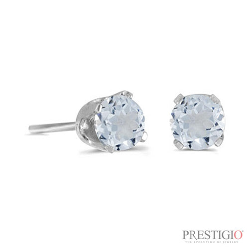 14k White Gold Round Aquamarine Stud Earrings - prestigiojewelers