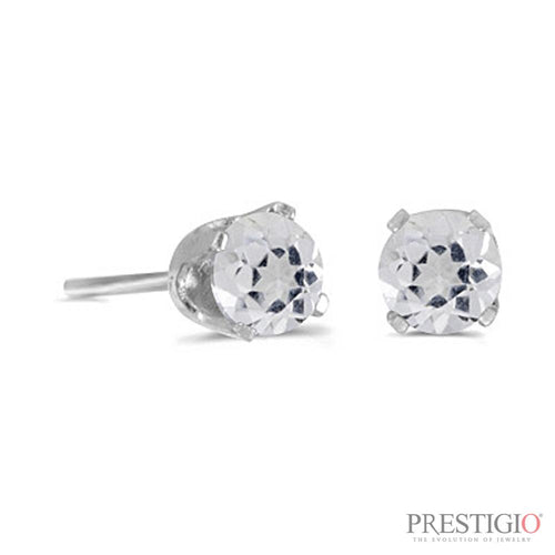 14k White Gold Round White Topaz Stud Earrings - prestigiojewelers