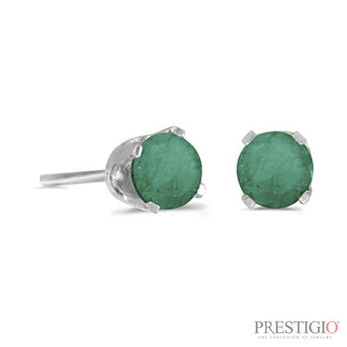 14k White Gold Round Emerald Stud Earrings - prestigiojewelers