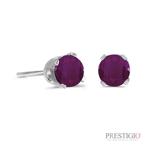 14k White Gold Round Ruby Stud Earrings