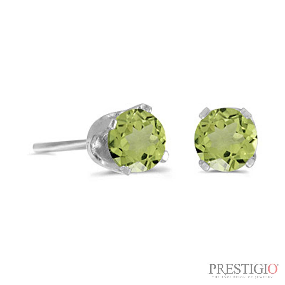 14k White Gold Round Peridot Stud Earrings