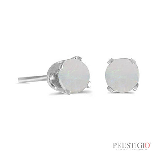 14k White Gold Round Opal Stud Earrings - prestigiojewelers