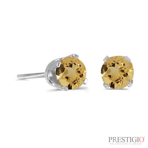 14k White Gold Round Citrine Stud Earrings - prestigiojewelers