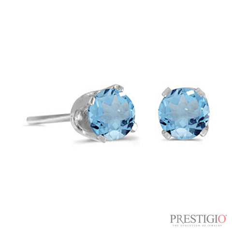 14k White Gold Round Blue Topaz Stud Earrings