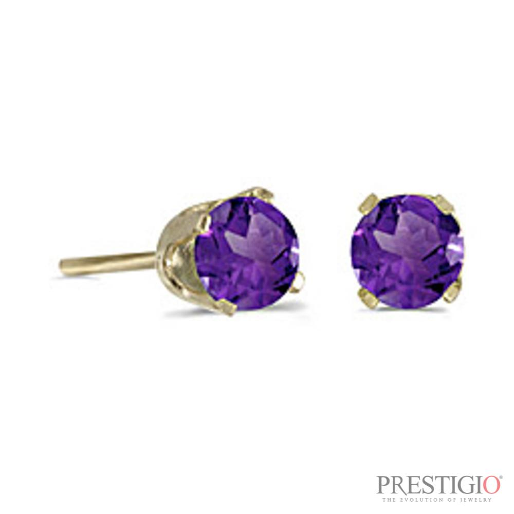 14k Yellow Gold Round Amethyst Stud Earrings