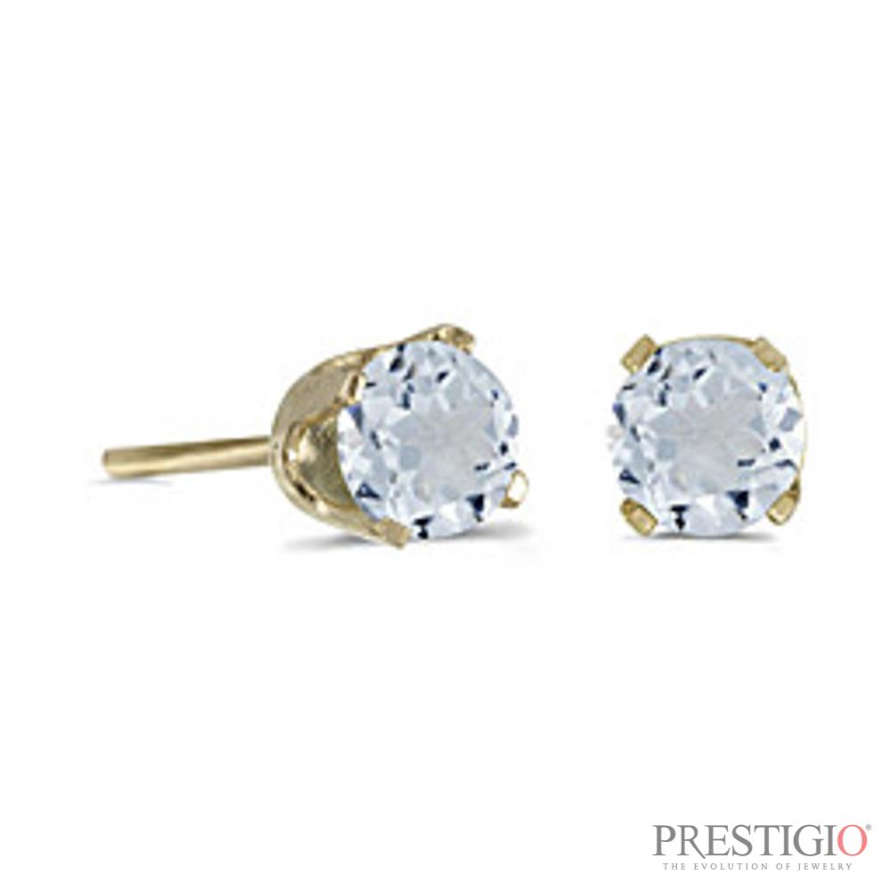 14k Yellow Gold Round Aquamarine Stud Earrings