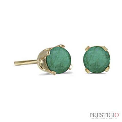 14k Yellow Gold Round Emerald Stud Earrings
