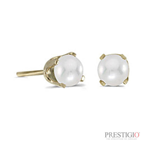 14k Yellow Gold Pearl Stud Earrings - prestigiojewelers