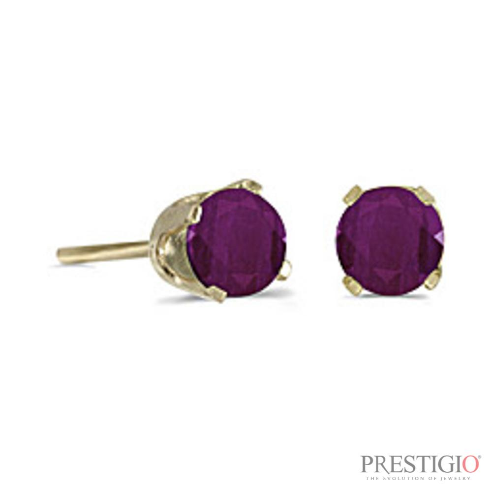 14k Yellow Gold Round Ruby Stud Earrings