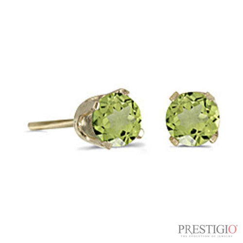 14k Yellow Gold Round Peridot Stud Earrings - prestigiojewelers