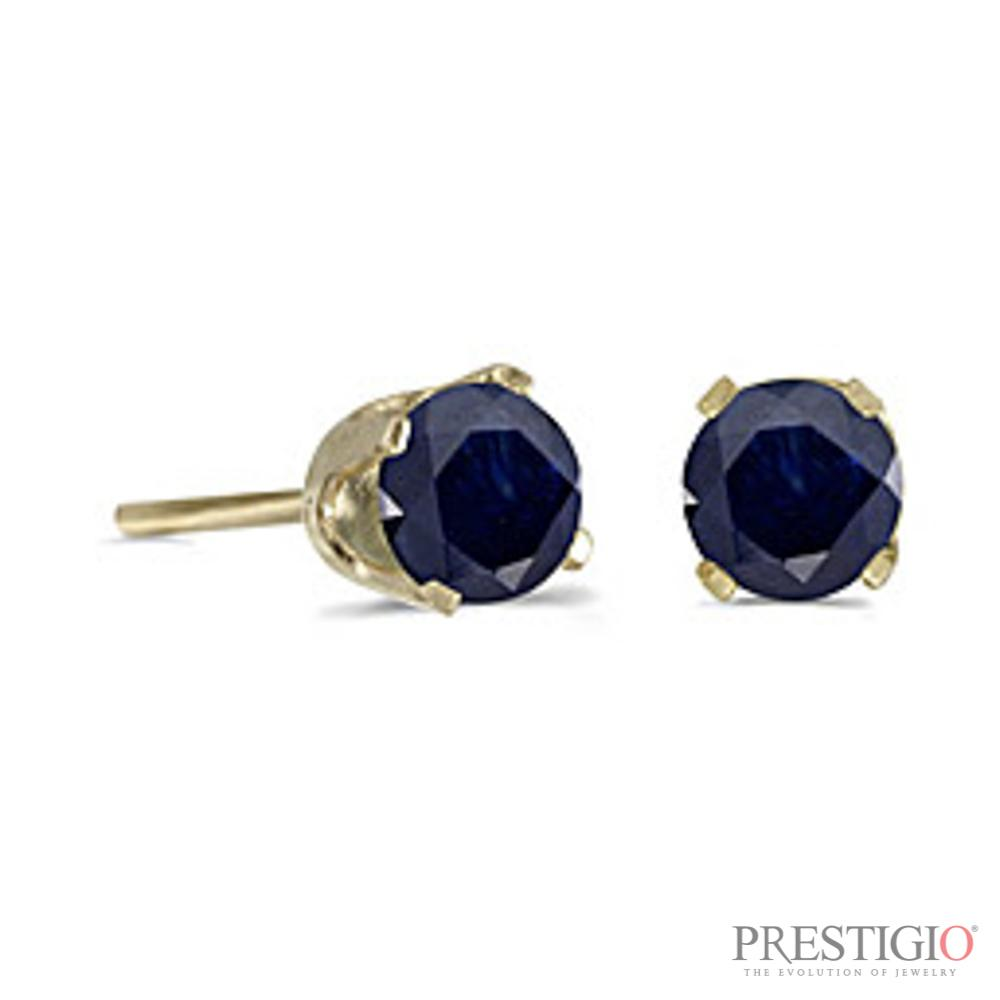 14k Yellow Gold Round Sapphire Stud Earrings