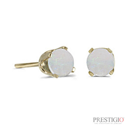 14k Yellow Gold Round Opal Stud Earrings - prestigiojewelers