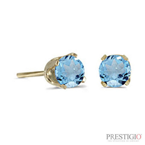 14k Yellow Gold Round Blue Topaz Stud Earrings