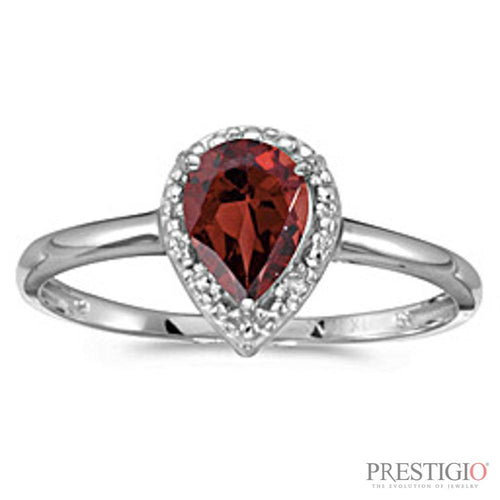 10k White Gold Pear Garnet & Diamond Ring