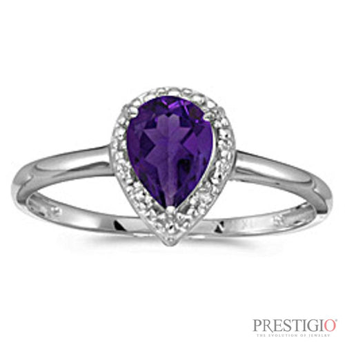 10k White Gold Pear Amethyst & Diamond Ring