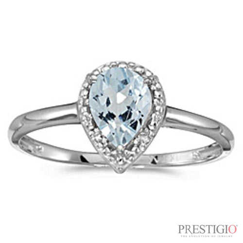 10k White Gold Pear Aquamarine & Diamond Ring